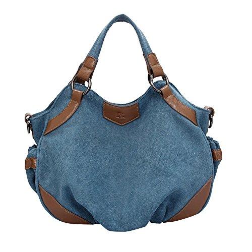 ZongSen grand sac à main en toile de lin sac femme de mode sac porté épaule sac voyage loisir fourre tout Bleu