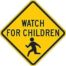 "Brady 124587 Traffic Control Sign, Legend ""Watch for Children"", 18"" Height, 18"" Width, Black on Yellow"