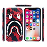 Case for iPhone XR 2018: Shark Face Case Street Fashion Luxury Flexible Durable Designer Protective TPU Cover/Bumper/Skin/Cushion with Wrist Strap (fits 6.1' iPhone XR only) (Red)