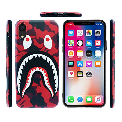 Case for iPhone XR 2018: Shark Face Case Street Fashion Luxury Flexible Durable Designer Protective TPU Cover/Bumper/Skin/Cushion with Wrist Strap (fits 6.1 iPhone XR only) (Red)
