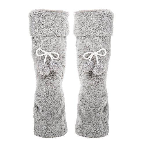 Socks Poms Tall Noble Women's with Fuzzy Mount Pom Plush Slipper Grey qFZ4YOZ