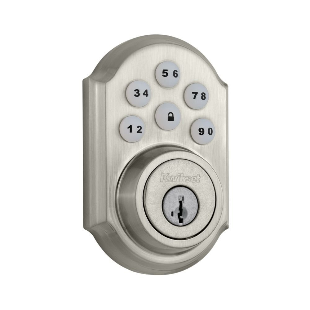 Kwikset 910 Z-Wave SmartCode Electronic Touchpad Deadbolt and Tustin Passage Lever Bundle, Works with Amazon Alexa via SmartThings, Wink, or Iris, in Satin Nickel
