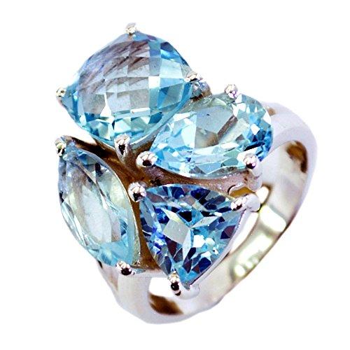 Gemsonclick Natural Blue Topaz Ring 925 Silver Mixed Gemstone prong Setting Handmade Size (Mixed Gem Ring)