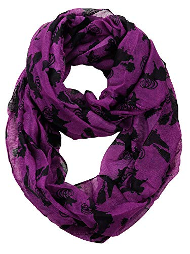 D&Y Halloween Theme Sheer Loop Infinity Scarf, Witch, Purple]()