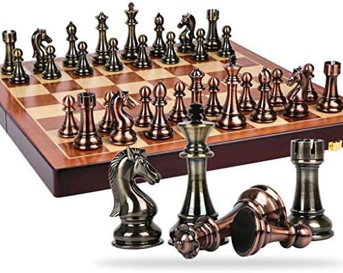 Juegos Tradicionales Ajedrez Piezas de ajedrez de aleación de Zinc clásico Juego de ajedrez de ajedrez de Madera con Rey Altura 11 cm Juego de ajedrez Exteriores Juegos de Mesa AJ: Amazon.es: