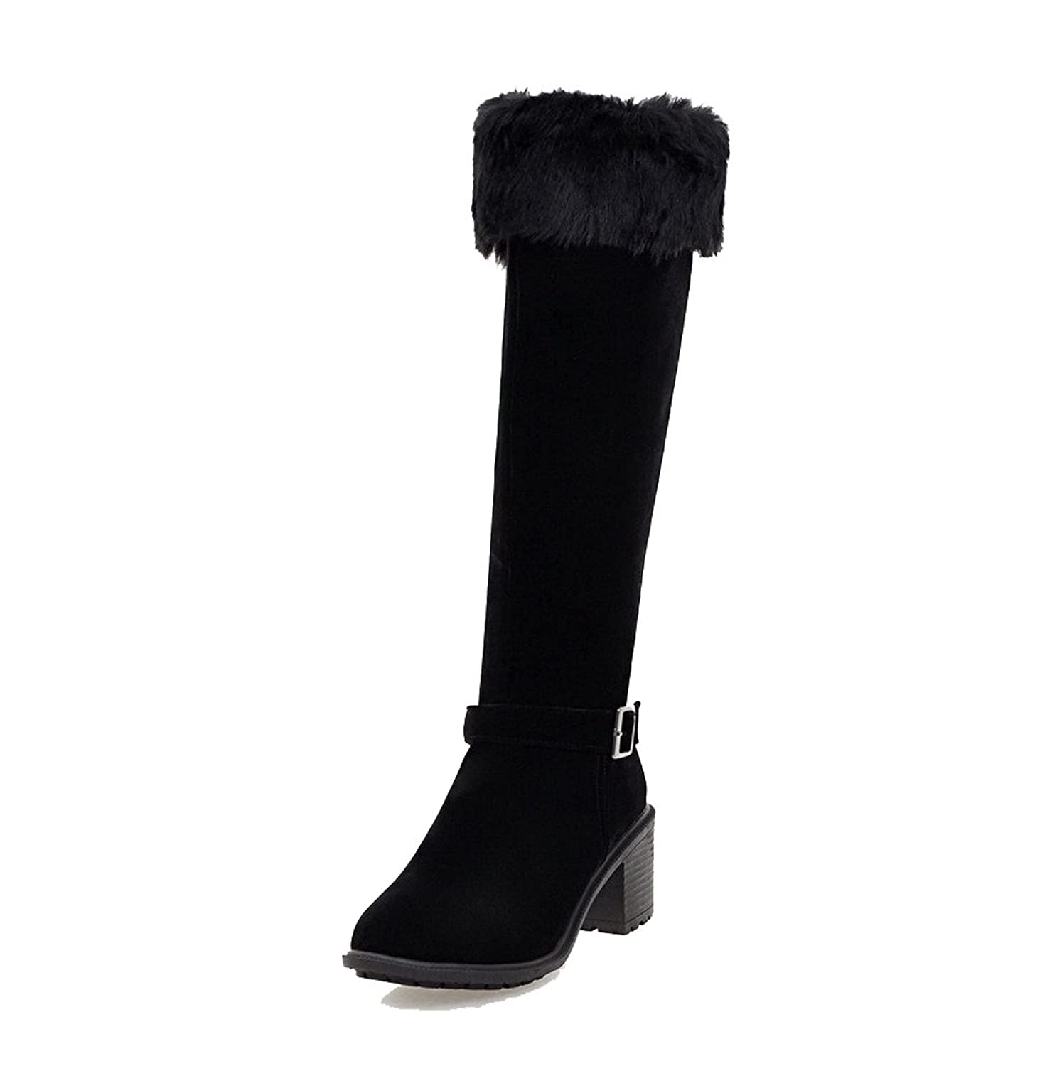 WeiPoot Women's Solid Kitten-Heels Round Closed Toe Imitated Suede Zipper Boots
