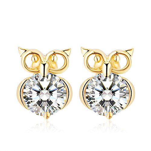 (Winter's Secret Gold Color Hollow out the Owl Pattern Stud Crystal Zircon Fashion Earring)