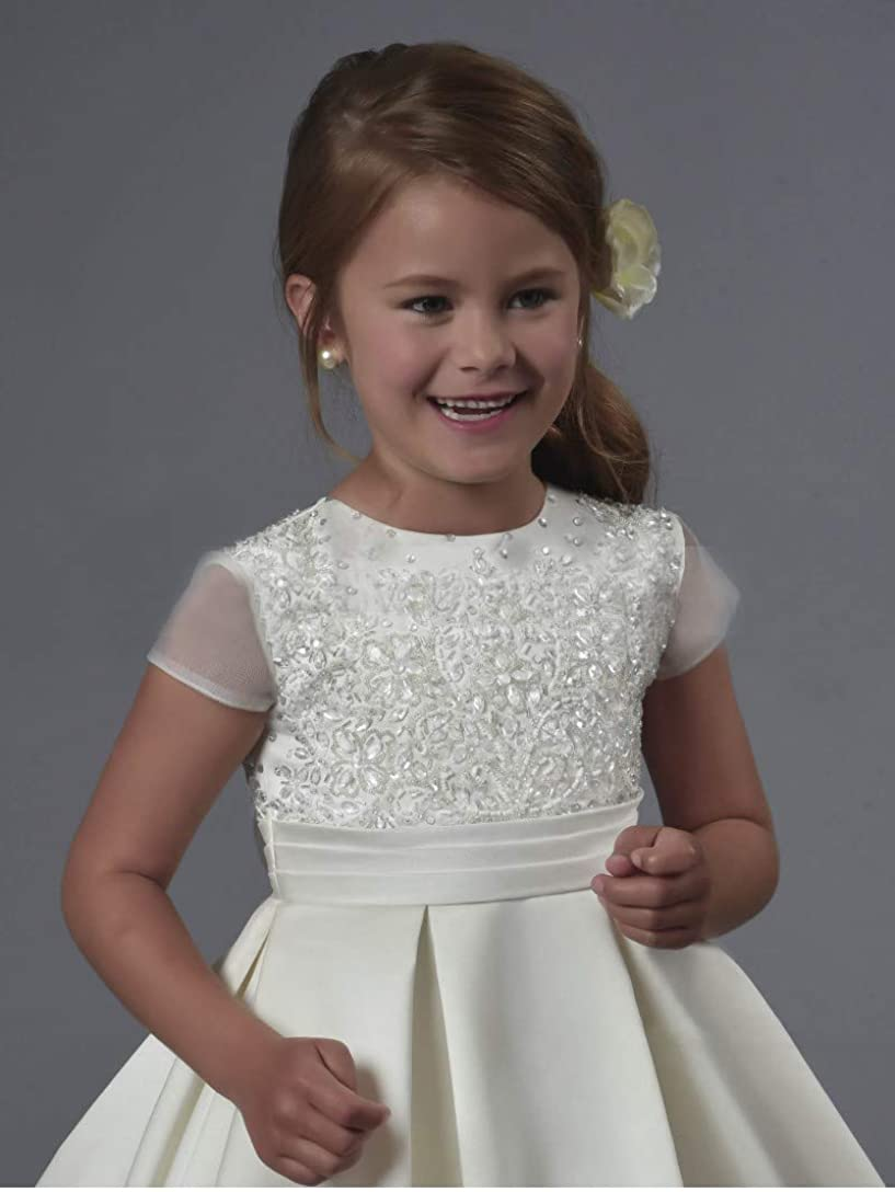 Yuxusus First Communion Dress Short Sleeve Pleated Lace Satin Wedding Flower Ball Gown