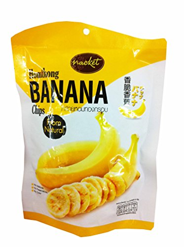 4 Packs of Hom Thong Banana Chips with Natural Taste, delicious Fruit Snack By Nacket, Thailand.(43 G/ (Banana Flasher Costume)