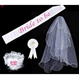 Skyseen Bridal Veil Bride to Be Badge Rosette Sash Garter for Bridal Shower Hen Night Party Supplies and Decorations