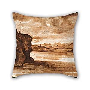 Cushion Covers 20 X 20 Inches / 50 By 50 Cm(each Side) Nice Choice For Teens Boys,kids Girls,christmas,pub,bench,club Oil Painting Claude Lorrain - Tiber Landscape North Of Rome With Dark Cloudy Sky