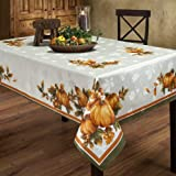 Benson Mills Autumn Gatherings Engineered 70-Inch Round Fabric Tablecloth