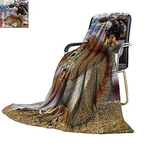 Travel Throw Blanket,Squirrel Eagle American Flag Velvet Plush Throw Blanket,300GSM,Super Soft and Warm,Durable Twin Blanket:60