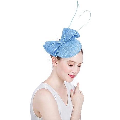 Fascinators Hat Feather Headwear Womens Elegante Sinamay Fascinator Cappello  Nuziale Piuma Accessori per Capelli Clip Cocktail b0559e266367