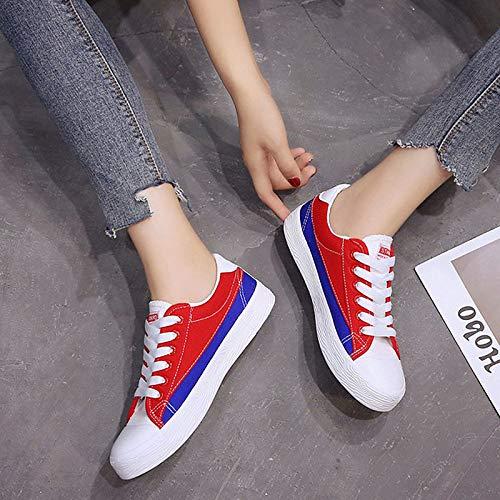 Mujer Zapatos Comfort Round ZHZNVX Green Heel Toe Sneakers Red Canvas de Flat Comfort Red zExZd