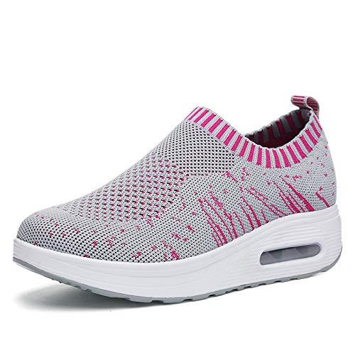 Liuxc Damenschuhe Frühling und Sommer schütteln Schuhe atmungsaktive Sportschuhe dicken Boden gesetzt Fuß Freizeit elastischen Luftkissen