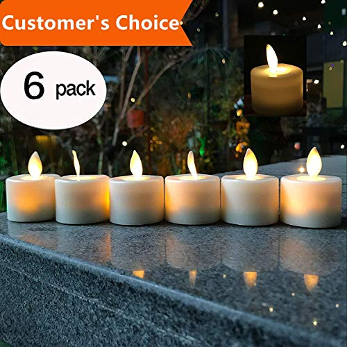 LED Tea Light Candles,Battery Operated Warm White Flameless Window Pillar Candle Bluk With Dancing Flickering Bulb For Christmas/Wedding/Birthday Party-Pack Of 6 -