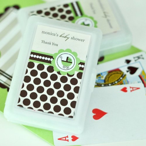 Personalized Playing Cards - Green Baby - Total 100 items (Personalized Wedding Favors Cards Playing)