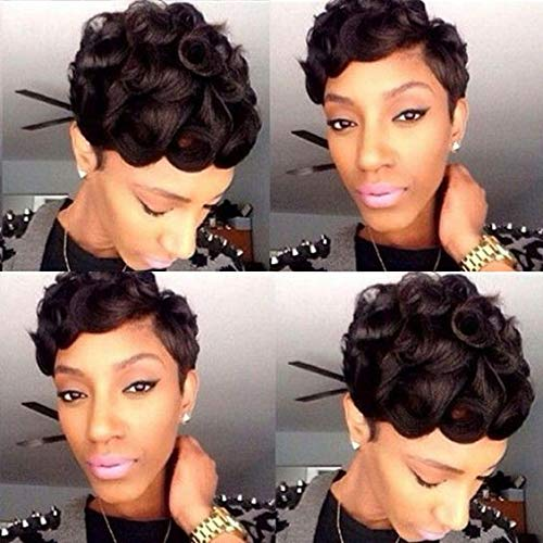 Short Pixie Haircut Wigs 100% Human Hair Wigs with Bangs Curly Black Pixie Cut Wigs for Women (Curly)