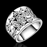 Silver Plated Ring Finger Size 7 8 Retor Gift Vintage Rings Womens Walking Street (8)