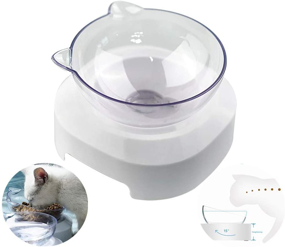 YChoice365 Cat Bowls, 15 Degree Tilt Adjustable Pet Food Bowls, Neck Guard Pet Water Bowl Raised Elevated Stand Food Bowls for Cats & Small Dogs