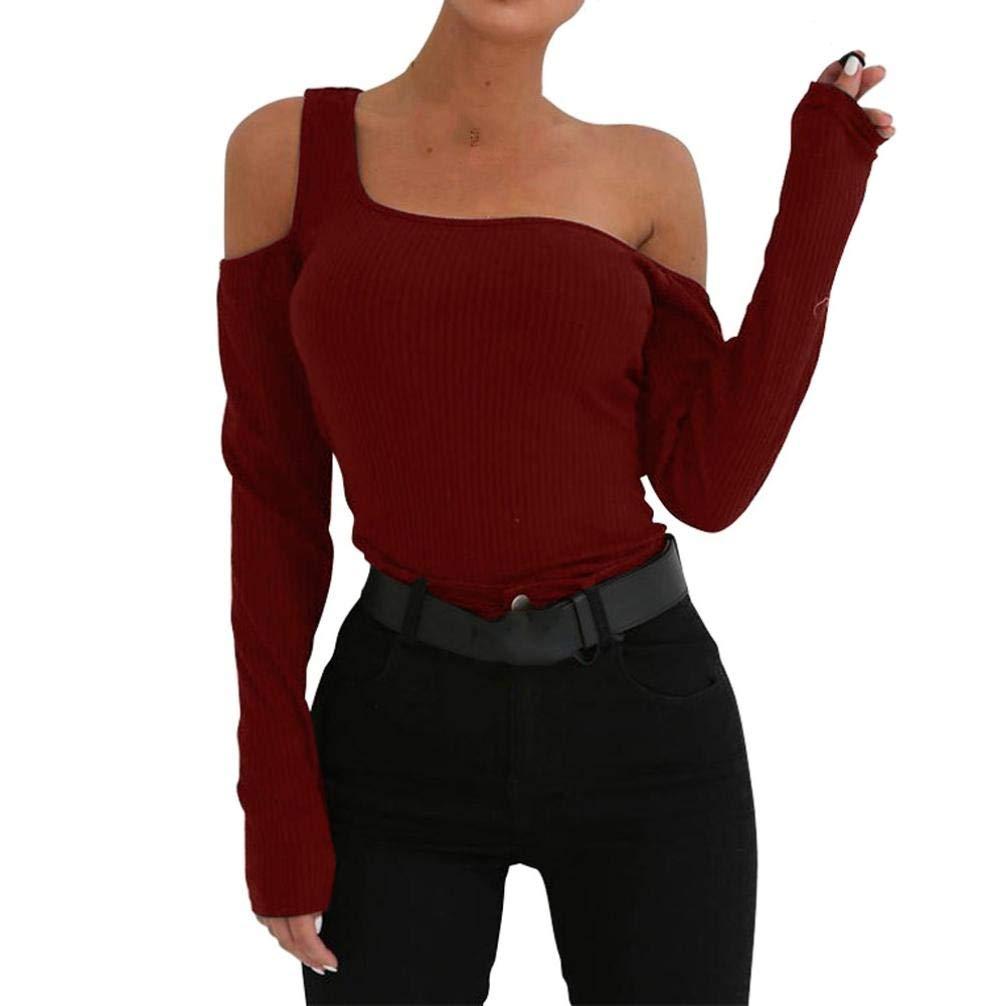 Damen Pullover, TWBB Short Sweatshirt Off Shoulder Lange Ä rmel O-Neck Herbst Winter Oberteile Bluse