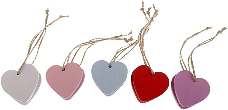 40x Wooden Heart Shape MDF Blank Cutout Tags for Craft Bunting Wedding Party