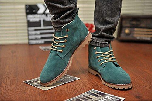 Gleader Nueva moda britanicos para hombre Casual de encaje gamuza Botines Mocasines Zapatillas de deporte Verde ( Tamano:42 )