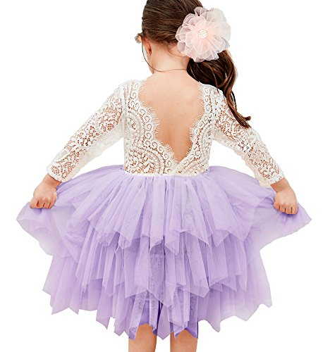Backless A-line Lace Back Flower Girl Dress (6Y, (Purple Tulle Flower Girl Dresses)
