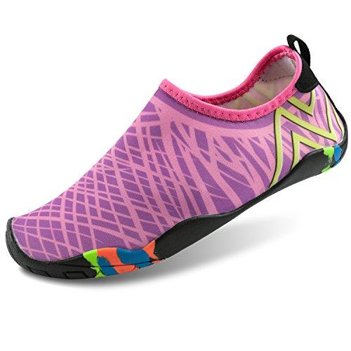 Shinmax Aqua Wasser Schuhe, Männer Frauen Barfuß Quick Dry Leichte Haut Flexible Socken für Strand, Schwimmen, See, Bootfahren, Park, Walking, Yoga, Fahren Rose Rot