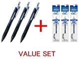uni-ball New Jetstream Extra Fine & Micro Point Click Retractable Roller Ball Pens,-Rubber Grip Type -0.38mm-Blue Ink- 3 Pens & 3 Pens Refills Value Set