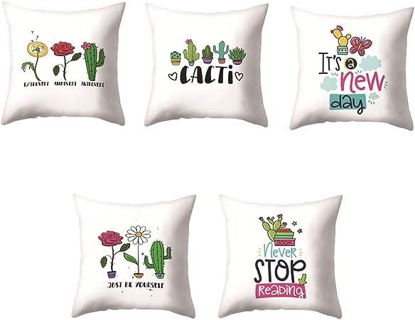 VLUNT 6 Pack Fundas de Cojines para Sofa, Estampados de Lindo Cactus Fundas Cojines Rectangulares 45x45 cm Cushion Cover: Amazon.es: Hogar