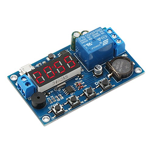 DROK Digital Programmable Time Clock Switch Timer Relay Board DC 5-60V Input Time Controller 24 Hours 4 Digit Timing Delay Module with Micro USB 5.0V Input Port (5 Function Digital Clock)