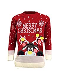 CHILDRENS KIDS BOYS GIRLS 3D KNITTED RETRO NOVELTY CHRISTMAS XMAS JUMPER 3-12 YEARS