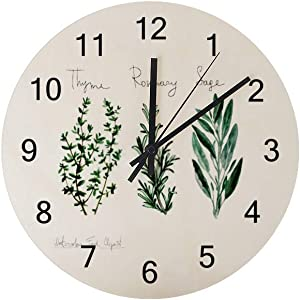 N / A Guitong Wall Clocks Wooden Silent Battery Operated Digital Large Hanging Round Wall Clock Lightweight Non-Ticking Watercolor Food Herbs Decorative Kitchen Office Living Room Bedroom 11.8 inch
