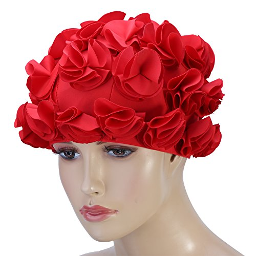 - VGEBY Women Swimming Cap Floral Petal Retro Style Bathing Hat Swim Flower Cap (Color : Red)