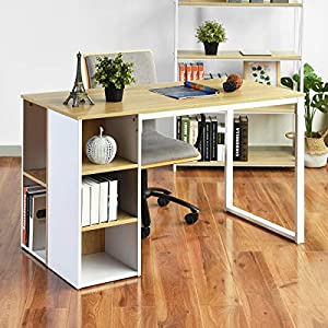 Computer Desk with Storage Shelves 47.2'' White Office Writing Desk Students Study Table Home Corner Gaming Desk Large…