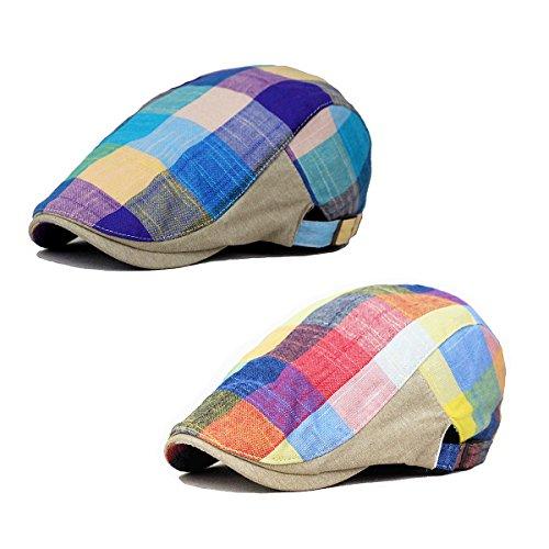 ZLSLZ 2 Pack Men's Plaid Cotton Flat newsboy IVY Cabbie Golf Gatsby Cap Hat (RB12)