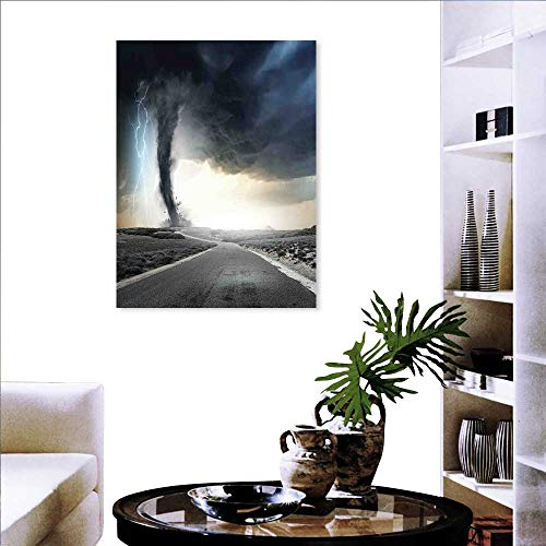 Thunder Black Paint - Nature Customizable Wall Stickers Black Tornado Funnel Gas and Thunder Rolling on The Road Fume Disaster Monochrome Print Stickers for Wall Home 16