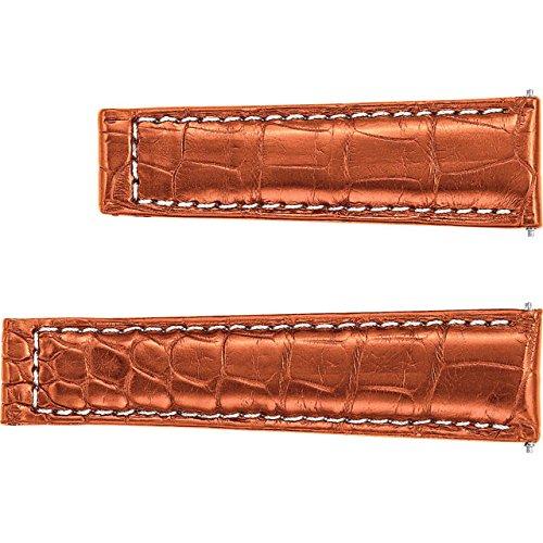 Honey 20 mm Men\u0027s Genuine Alligator Center Watch Strap for Rolex -