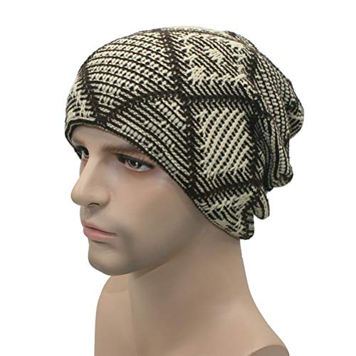Autumn Winter Warm Skull Cap Plaid Crochet Knitted Hat Ski Beanie Cap for Men Women (Beige)