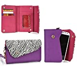 Kroo Link Wallet in Purple Zebra Blend Universal fit for Samsung Sl, R, Galaxy Fascinate, Focus S, Avant, Core Plus, Alpha, Express 2, Star 2 Plus, Win Pro, Win 2 Duos,Ace Style LTE G357, Ativ S Neo