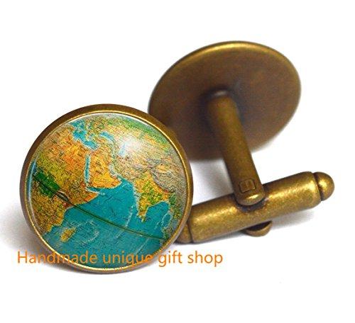 Art Cufflinks (Modern Charm Cufflink, Fashion Cufflink,Globe Cufflink, earth globe Cufflink , globe art Cufflink , teacher gift, world travel adventurer , world map globe jewelry-RC311)