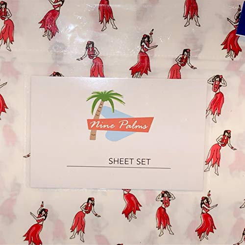 Nine Palms Hawaiian Alola Dancing Hula Girl Sheet Set - Twin Size Cotton Sheet Set on White - 100% Cotton