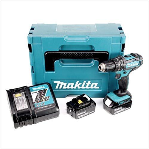 Makita DHP482RTJ - Taladradora atornilladora de percusión + 2 baterías 18 V 5 Ah de litio + caja de herramientas - Color azul: Amazon.es: Bricolaje y herramientas