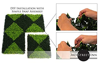 Artificial Hedge - Outdoor Artificial Plant - Great Boxwood and Ivy Substitute - Sound Diffuser Privacy Fence Hedge - Topiary Gardenia Greenery Panels