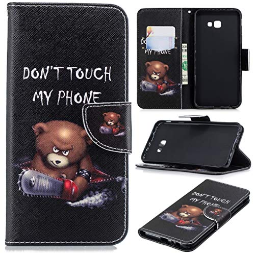 Galaxy J4 Plus Case, Galaxy J4 Prime Case, iYCK PU Leather Flip Folio Magnetic Closure Protective Shell Wallet Case Cover for Samsung Galaxy J4 Plus/Prime 2018 with Kickstand Stand - Electric Saw Bear