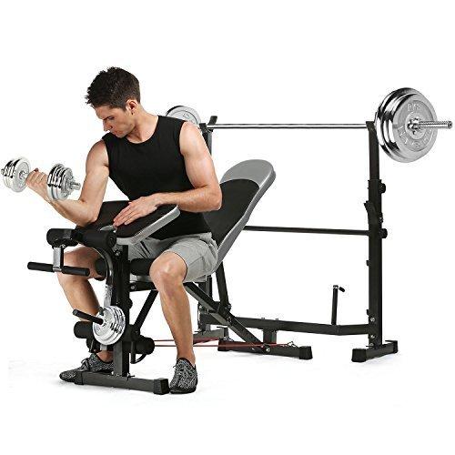 asatr olímpicos plegable peso banco con púlpito Pad/pierna desarrollador/barra/Resistencia Banda para interior ejercicio ajustable profesional multifunción ...
