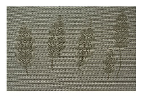 Under Construction Placemat (Placemat Set of 4/6 Reversible Leaf Theme Kitchen Table Decor Woven Vinyl Table Placemats Set Home Dinner Decorative by Secret Life (6, 5 Beige Leafs))