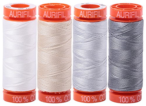 (4) 220 YD Spools Aurifil 50 wt Quilter's Super Set of Essential Piecing Thread Colors Bundle of 4 Spools ()